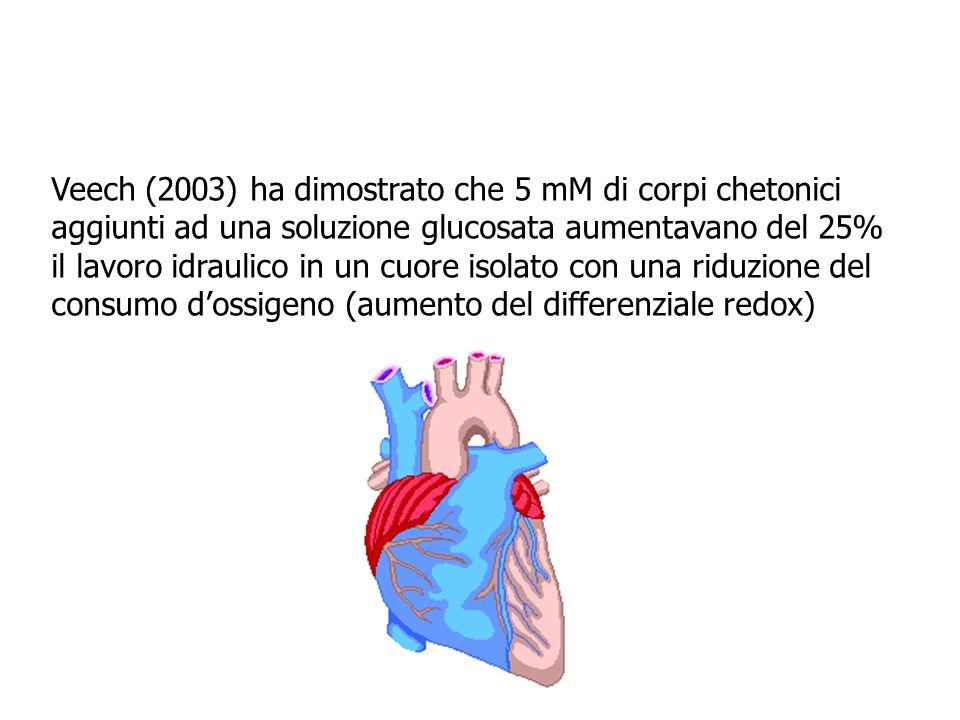 Veech (2003) ha dimostrato che 5 mM di corpi chetonici aggiunti ad una soluzione glucosata aumentavano del 25% il lavoro idraulico in un cuore isolato