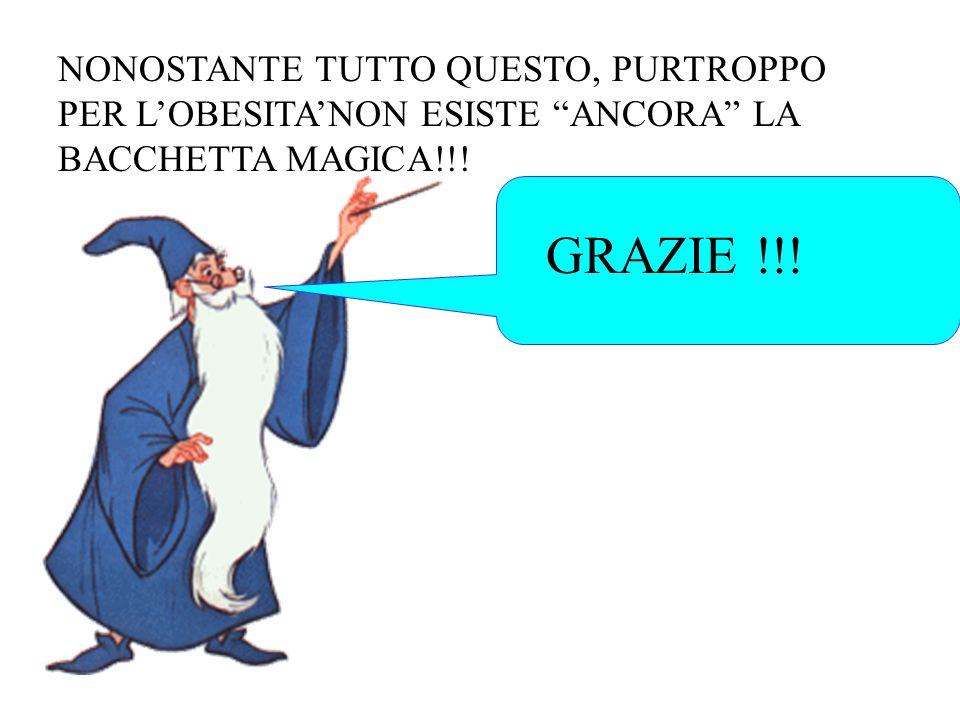 GRAZIE !!! NONOSTANTE TUTTO QUESTO, PURTROPPO PER LOBESITANON ESISTE ANCORA LA BACCHETTA MAGICA!!!
