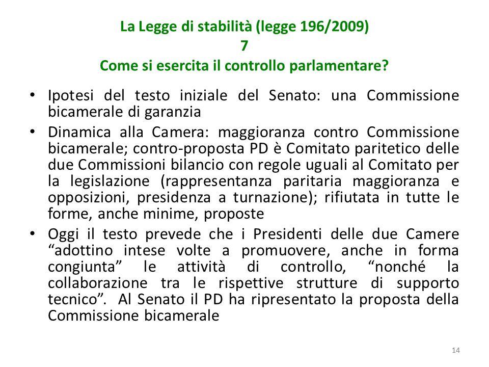 14 La Legge di stabilità (legge 196/2009) 7 Come si esercita il controllo parlamentare.