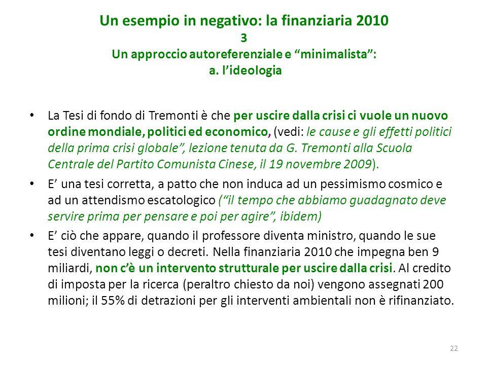 22 Un esempio in negativo: la finanziaria 2010 3 Un approccio autoreferenziale e minimalista: a.