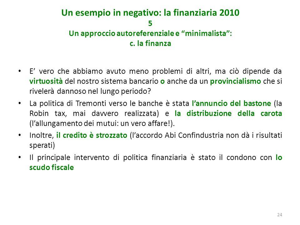 24 Un esempio in negativo: la finanziaria 2010 5 Un approccio autoreferenziale e minimalista: c.