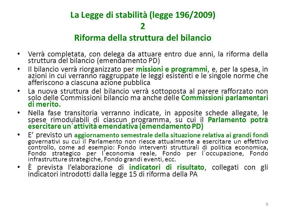 99 La Legge di stabilità (legge 196/2009) 2 Riforma della struttura del bilancio Verrà completata, con delega da attuare entro due anni, la riforma della struttura del bilancio (emendamento PD) Il bilancio verrà riorganizzato per missioni e programmi, e, per la spesa, in azioni in cui verranno raggruppate le leggi esistenti e le singole norme che afferiscono a ciascuna azione pubblica La nuova struttura del bilancio verrà sottoposta al parere rafforzato non solo delle Commissioni bilancio ma anche delle Commissioni parlamentari di merito.