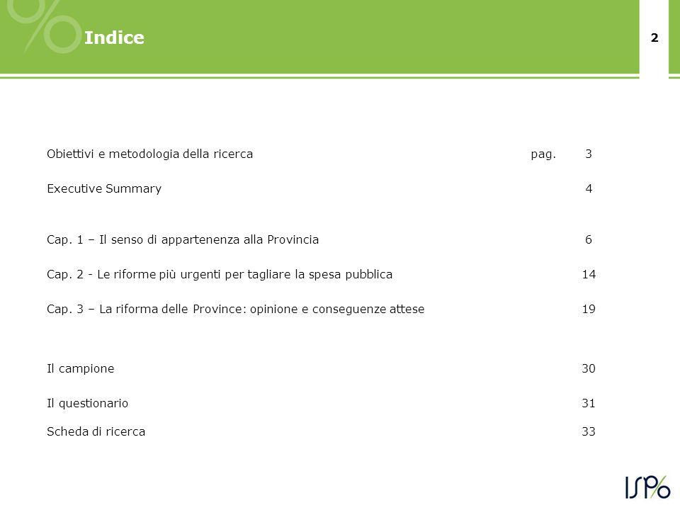 2 Indice Obiettivi e metodologia della ricercapag.3 Executive Summary4 Cap.