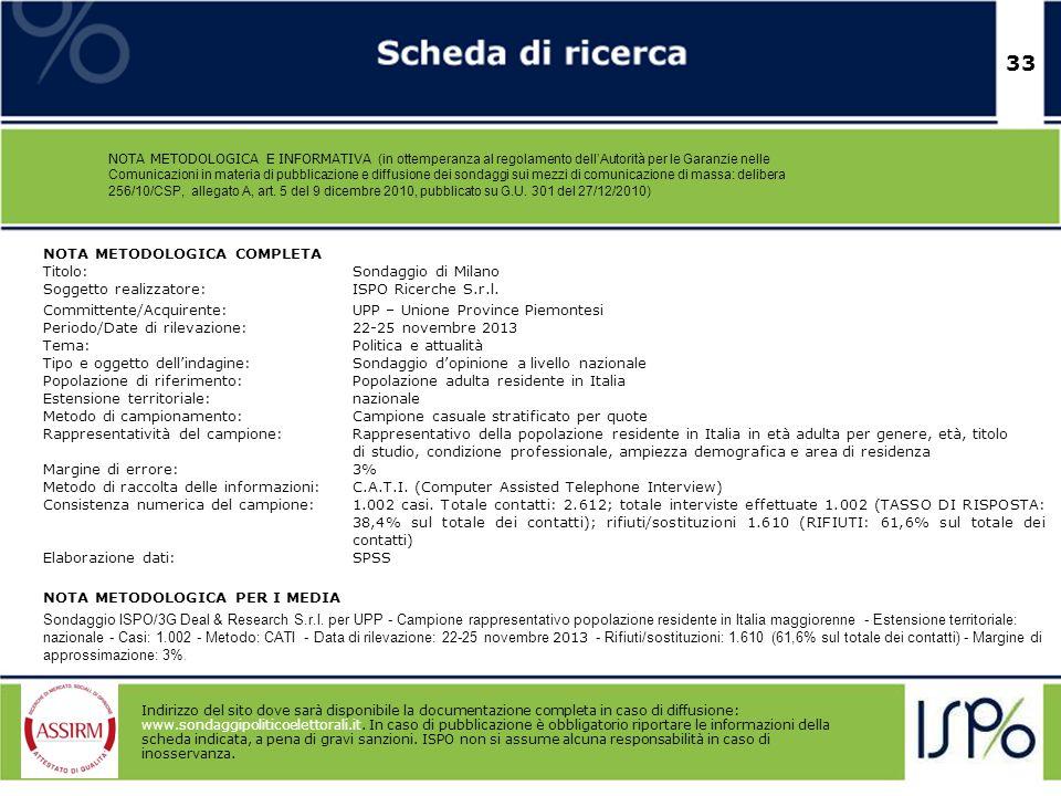 33 NOTA METODOLOGICA E INFORMATIVA (in ottemperanza al regolamento dellAutorità per le Garanzie nelle Comunicazioni in materia di pubblicazione e diff