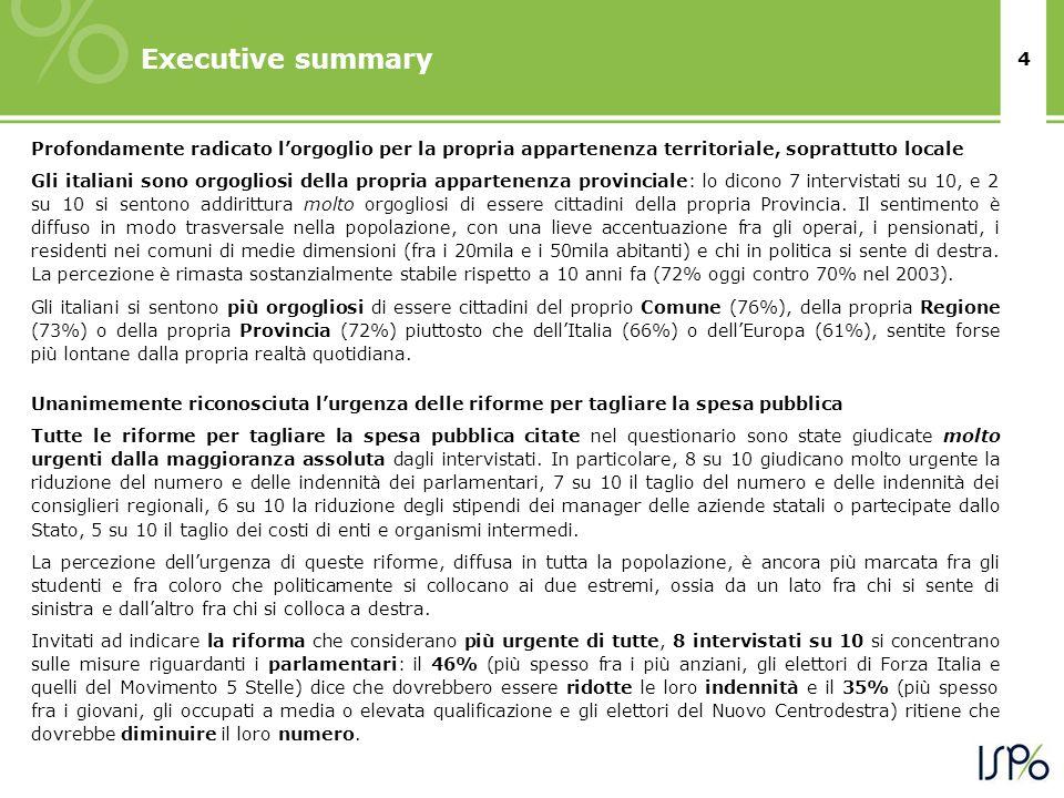 4 Executive summary Profondamente radicato lorgoglio per la propria appartenenza territoriale, soprattutto locale Gli italiani sono orgogliosi della p