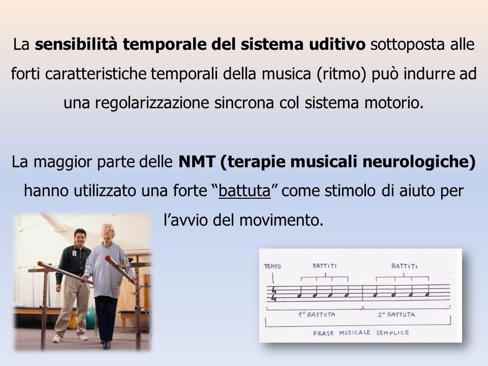La sensibilità temporale del sistema uditivo sottoposta alle forti caratteristiche temporali della musica (ritmo) può indurre ad una regolarizzazione