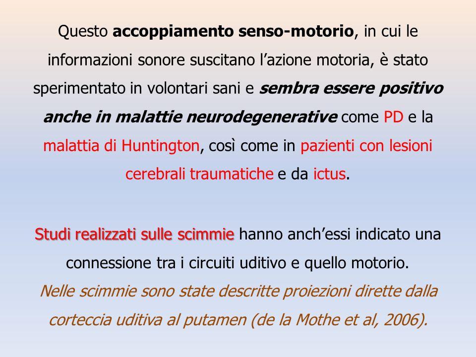 Questo accoppiamento senso-motorio, in cui le informazioni sonore suscitano lazione motoria, è stato sperimentato in volontari sani e sembra essere po