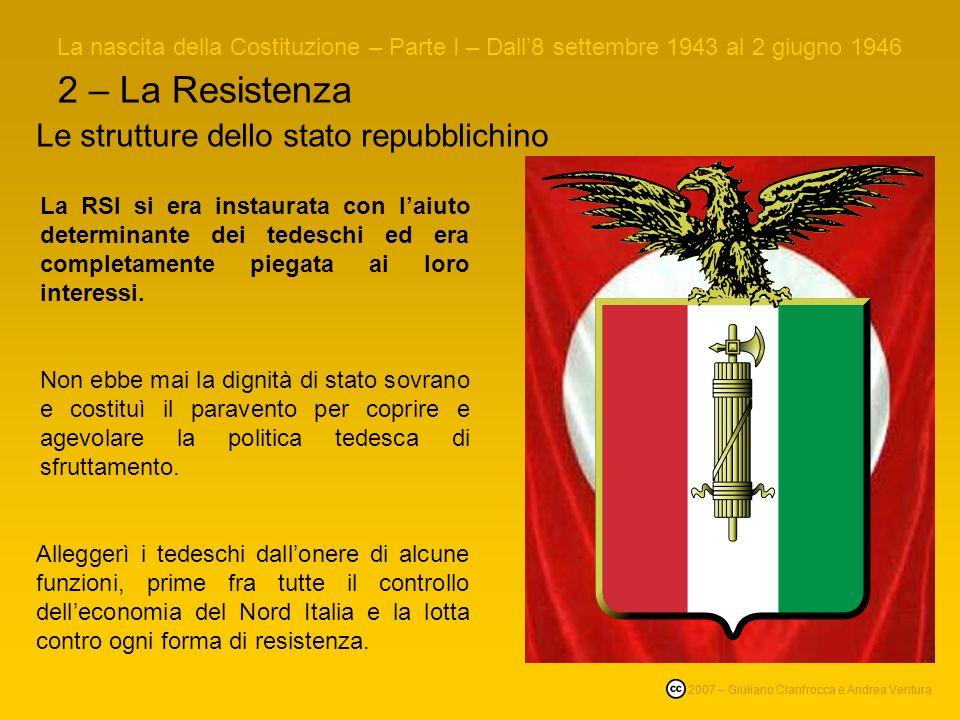 2 – La Resistenza La RSI si era instaurata con laiuto determinante dei tedeschi ed era completamente piegata ai loro interessi.