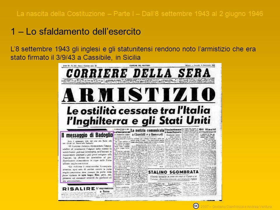 1 – Lo sfaldamento dellesercito La nascita della Costituzione – Parte I – Dall8 settembre 1943 al 2 giugno 1946 2007 – Giuliano Cianfrocca e Andrea Ve