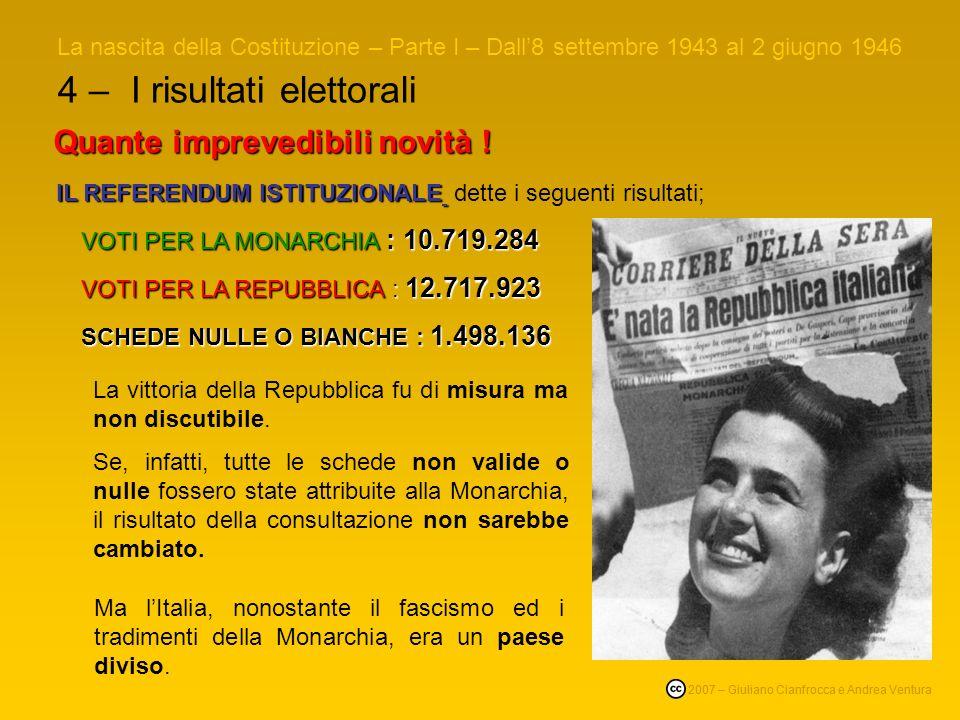 4 – I risultati elettorali La nascita della Costituzione – Parte I – Dall8 settembre 1943 al 2 giugno 1946 © 2007 – Giuliano Cianfrocca e Andrea Ventura Quante imprevedibili novità .