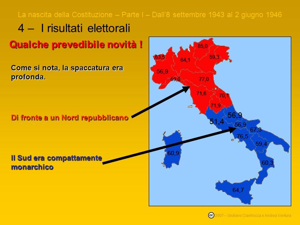 4 – I risultati elettorali La nascita della Costituzione – Parte I – Dall8 settembre 1943 al 2 giugno 1946 © 2007 – Giuliano Cianfrocca e Andrea Ventura Qualche prevedibile novità .