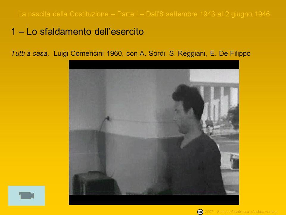 La nascita della Costituzione – Parte I – Dall8 settembre 1943 al 2 giugno 1946 1 – Lo sfaldamento dellesercito Tutti a casa, Luigi Comencini 1960, con A.