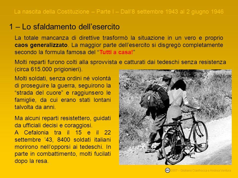 La nascita della Costituzione – Parte I – Dall8 settembre 1943 al 2 giugno 1946 1 – Lo sfaldamento dellesercito Tutti a casa, Luigi Comencini 1960, co