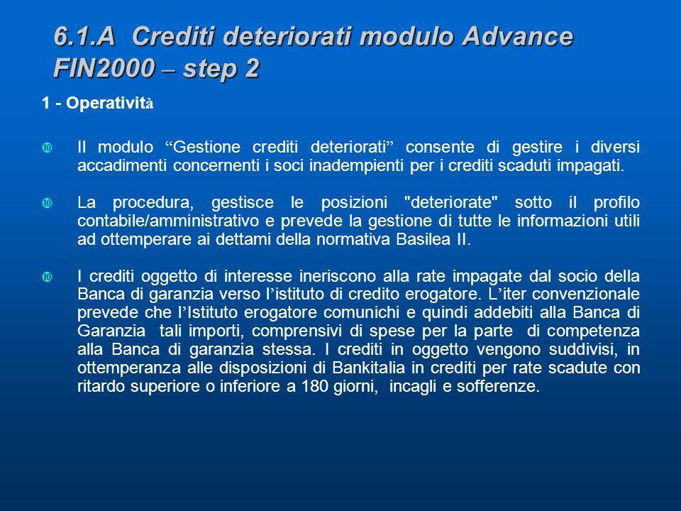 6.1.A Crediti deteriorati modulo Advance FIN2000 – step 2 1 - Operativit à Il modulo Gestione crediti deteriorati consente di gestire i diversi accadimenti concernenti i soci inadempienti per i crediti scaduti impagati.