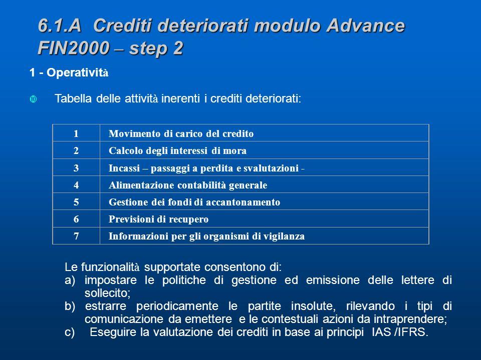 6.1.A Crediti deteriorati modulo Advance FIN2000 – step 2 1 - Operativit à Tabella delle attivit à inerenti i crediti deteriorati: Le funzionalit à supportate consentono di: a)impostare le politiche di gestione ed emissione delle lettere di sollecito; b) estrarre periodicamente le partite insolute, rilevando i tipi di comunicazione da emettere e le contestuali azioni da intraprendere; c) Eseguire la valutazione dei crediti in base ai principi IAS /IFRS.