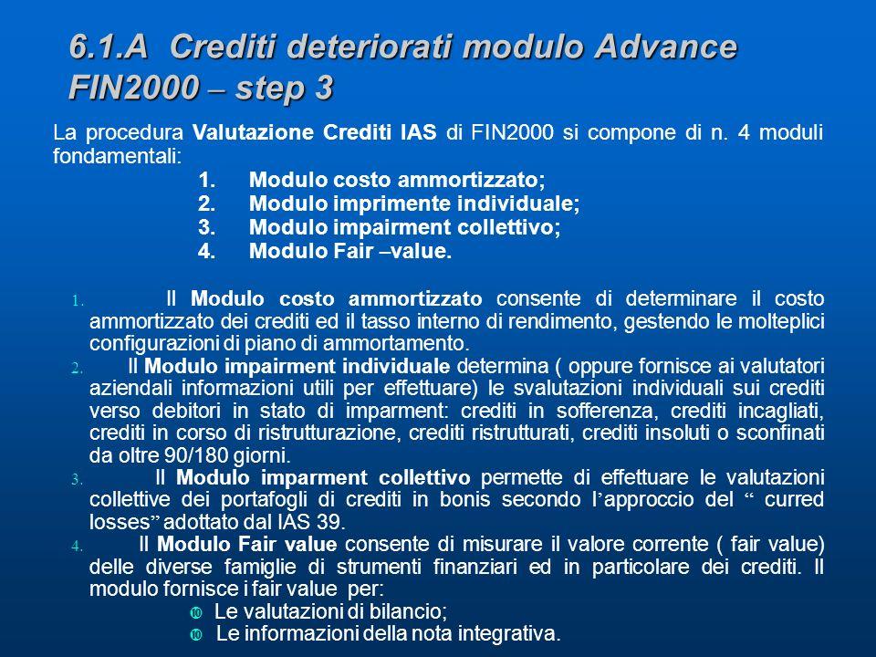 6.1.A Crediti deteriorati modulo Advance FIN2000 – step 3 La procedura Valutazione Crediti IAS di FIN2000 si compone di n.