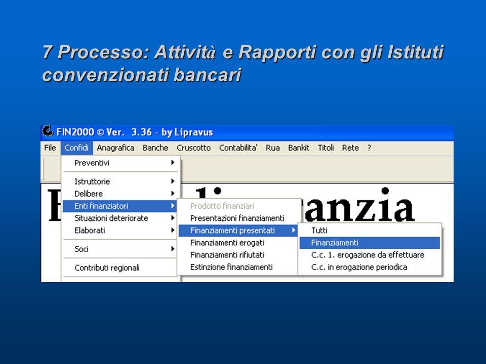7 Processo: Attivit à e Rapporti con gli Istituti convenzionati bancari