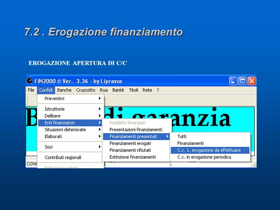 EROGAZIONE APERTURA DI C/C
