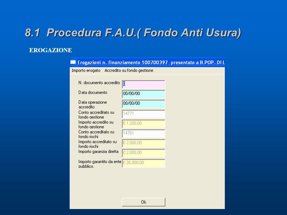 8.1 Procedura F.A.U.( Fondo Anti Usura) EROGAZIONE