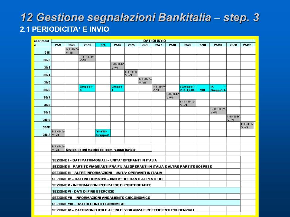 12 Gestione segnalazioni Bankitalia – step. 3 2.1 PERIODICITA E INVIO