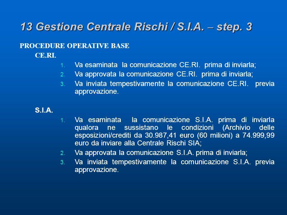 13 Gestione Centrale Rischi / S.I.A. – step. 3 PROCEDURE OPERATIVE BASE CE.RI.