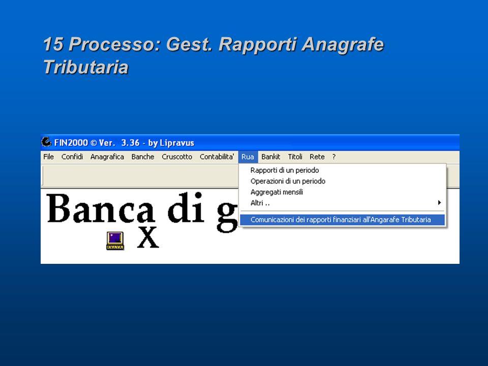15 Processo: Gest. Rapporti Anagrafe Tributaria