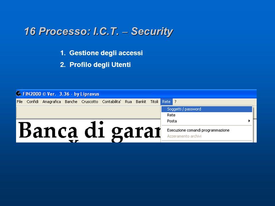 16 Processo: I.C.T. – Security 1. Gestione degli accessi 2. Profilo degli Utenti