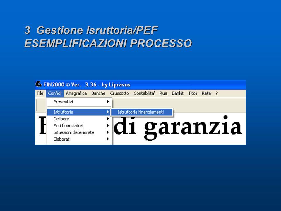 3 Gestione Isruttoria/PEF ESEMPLIFICAZIONI PROCESSO