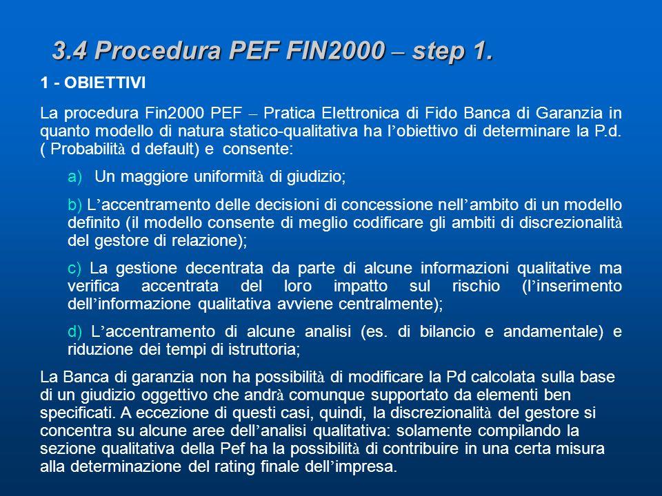 3.4 Procedura PEF FIN2000 – step 1.