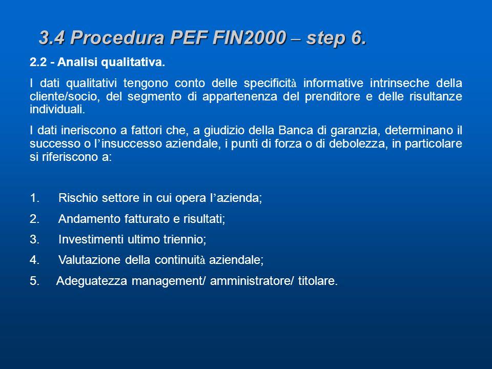 3.4 Procedura PEF FIN2000 – step 6. 2.2 - Analisi qualitativa. I dati qualitativi tengono conto delle specificit à informative intrinseche della clien