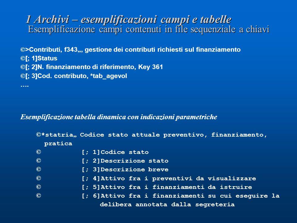 1 Archivi – esemplificazioni campi e tabelle Esemplificazione campi contenuti in file sequenziale a chiavi © >Contributi, f343, gestione dei contributi richiesti sul finanziamento © [; 1]Status © [; 2]N.