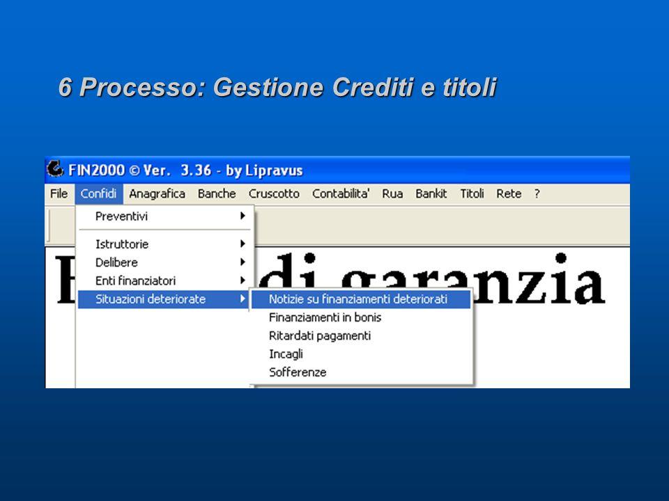 6 Processo: Gestione Crediti e titoli