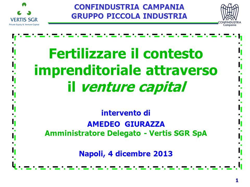 1 Napoli, 4 dicembre 2013 Fertilizzare il contesto imprenditoriale attraverso il venture capital intervento di AMEDEO GIURAZZA Amministratore Delegato