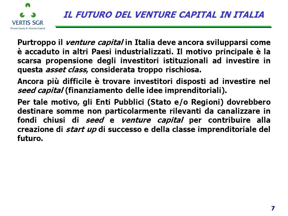 7 Purtroppo il venture capital in Italia deve ancora svilupparsi come è accaduto in altri Paesi industrializzati. Il motivo principale è la scarsa pro