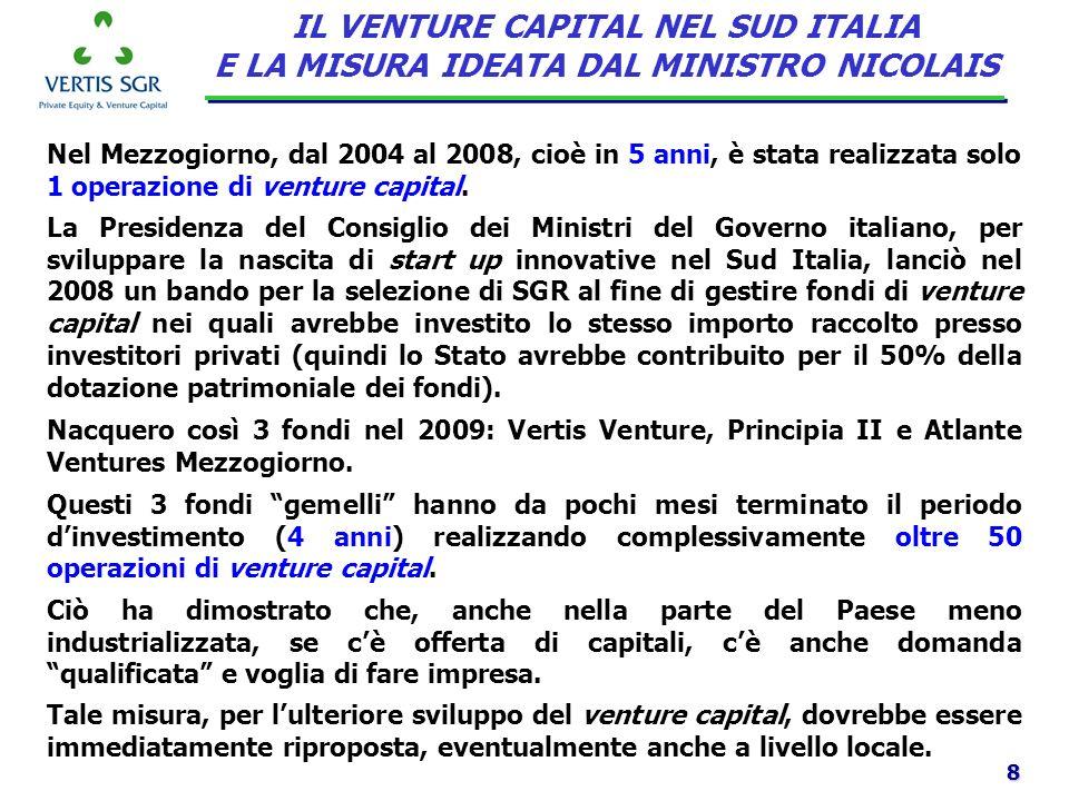 8 Nel Mezzogiorno, dal 2004 al 2008, cioè in 5 anni, è stata realizzata solo 1 operazione di venture capital. IL VENTURE CAPITAL NEL SUD ITALIA E LA M