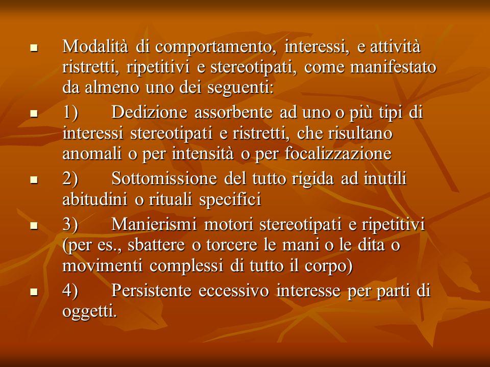 Modalità di comportamento, interessi, e attività ristretti, ripetitivi e stereotipati, come manifestato da almeno uno dei seguenti: Modalità di compor