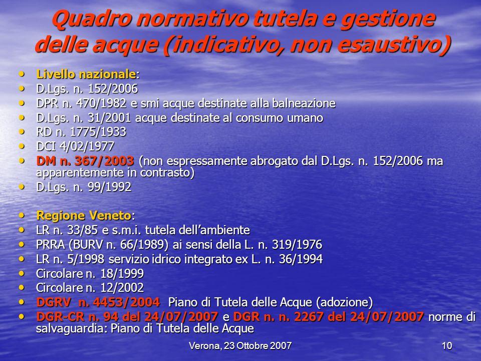 Verona, 23 Ottobre 200710 Quadro normativo tutela e gestione delle acque (indicativo, non esaustivo) Livello nazionale: Livello nazionale: D.Lgs. n. 1