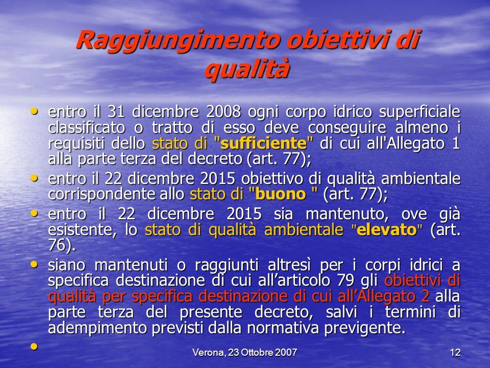 Verona, 23 Ottobre 200712 Raggiungimento obiettivi di qualità entro il 31 dicembre 2008 ogni corpo idrico superficiale classificato o tratto di esso d