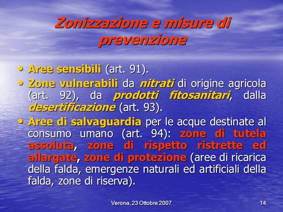 Verona, 23 Ottobre 200714 Zonizzazione e misure di prevenzione Aree sensibili (art. 91). Aree sensibili (art. 91). Zone vulnerabili da nitrati di orig