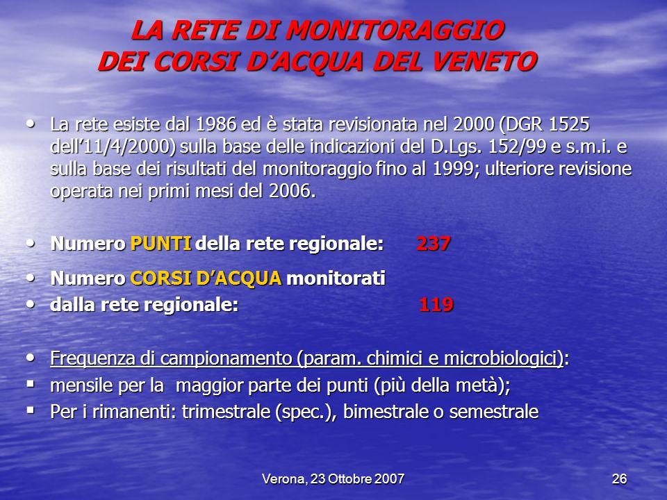 Verona, 23 Ottobre 200726 La rete esiste dal 1986 ed è stata revisionata nel 2000 (DGR 1525 dell11/4/2000) sulla base delle indicazioni del D.Lgs. 152