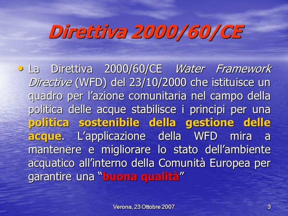 Verona, 23 Ottobre 20073 Direttiva 2000/60/CE La Direttiva 2000/60/CE Water Framework Directive (WFD) del 23/10/2000 che istituisce un quadro per lazi