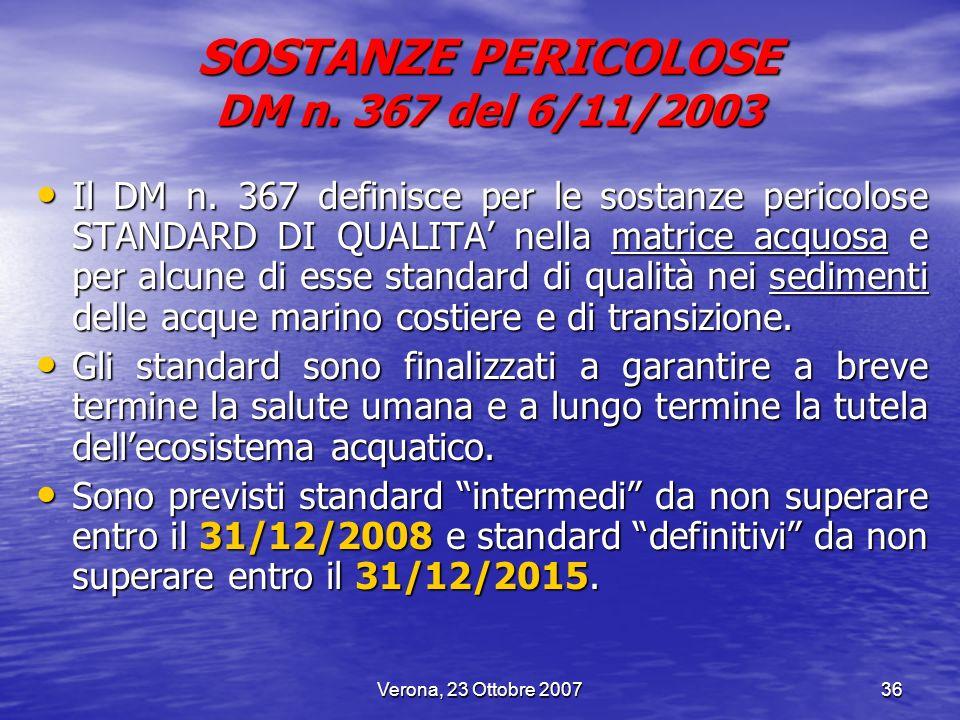 Verona, 23 Ottobre 200736 SOSTANZE PERICOLOSE DM n. 367 del 6/11/2003 Il DM n. 367 definisce per le sostanze pericolose STANDARD DI QUALITA nella matr