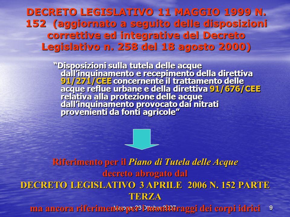 Verona, 23 Ottobre 20079 DECRETO LEGISLATIVO 11 MAGGIO 1999 N. 152 (aggiornato a seguito delle disposizioni correttive ed integrative del Decreto Legi