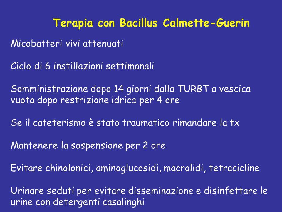 Terapia con Bacillus Calmette-Guerin Micobatteri vivi attenuati Ciclo di 6 instillazioni settimanali Somministrazione dopo 14 giorni dalla TURBT a vescica vuota dopo restrizione idrica per 4 ore Se il cateterismo è stato traumatico rimandare la tx Mantenere la sospensione per 2 ore Evitare chinolonici, aminoglucosidi, macrolidi, tetracicline Urinare seduti per evitare disseminazione e disinfettare le urine con detergenti casalinghi