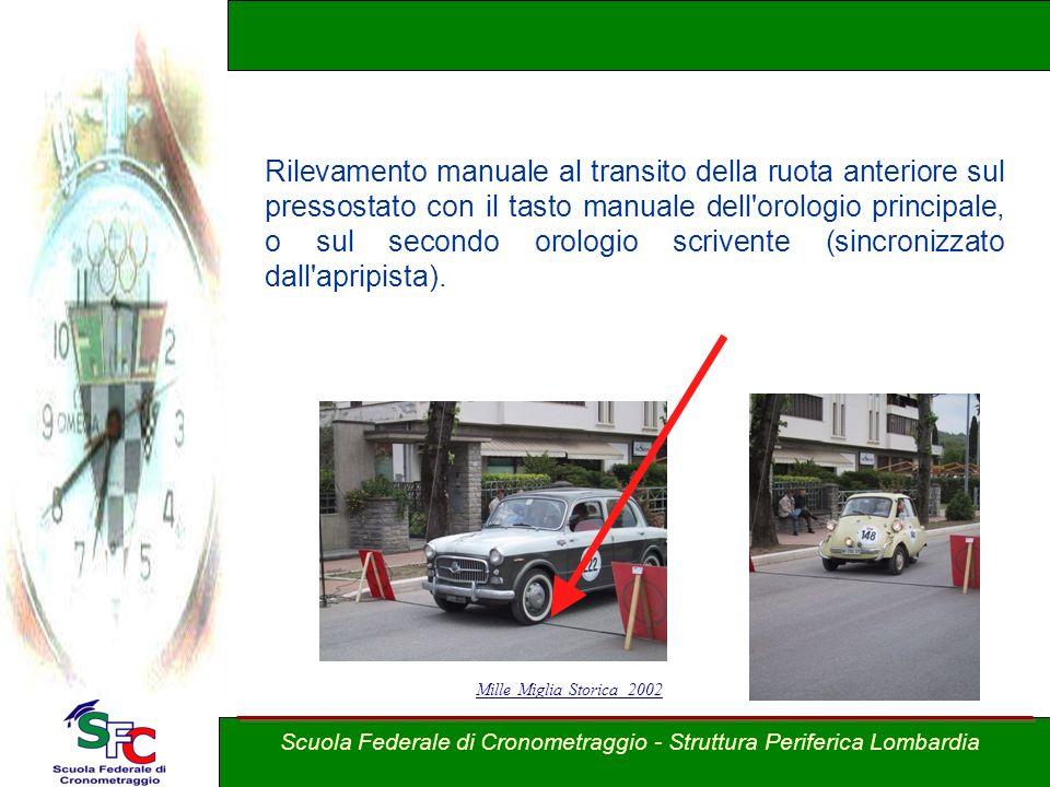 A cura Andrea Pederzoli Rilevamento manuale al transito della ruota anteriore sul pressostato con il tasto manuale dell'orologio principale, o sul sec
