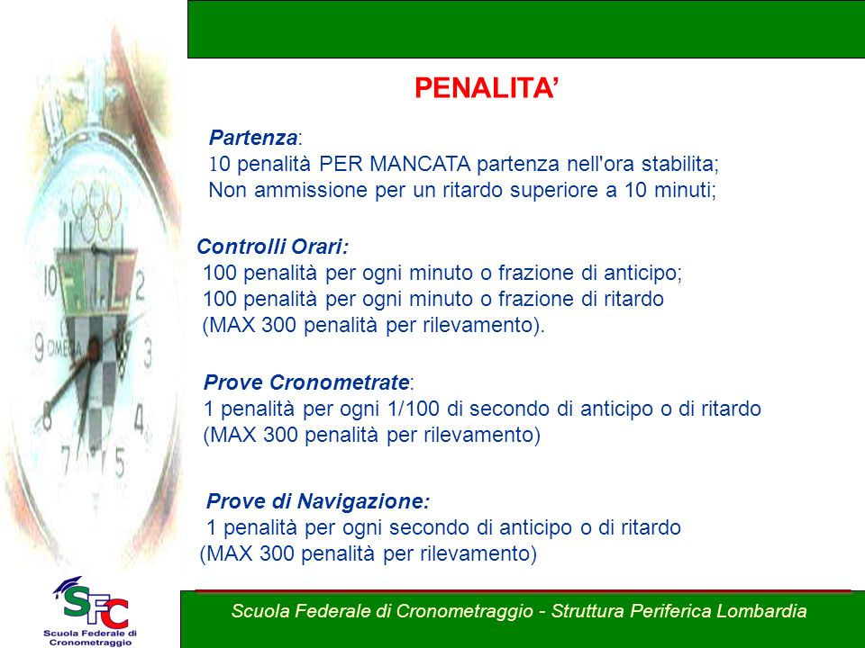 A cura Andrea Pederzoli Classifiche Penalizzazioni Partenza: 1 0 penalità PER MANCATA partenza nell'ora stabilita; Non ammissione per un ritardo super