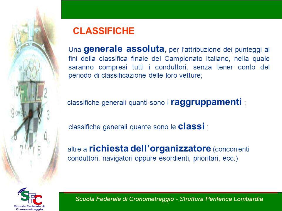 A cura Andrea Pederzoli CLASSIFICHE Una generale assoluta, per lattribuzione dei punteggi ai fini della classifica finale del Campionato Italiano, nel