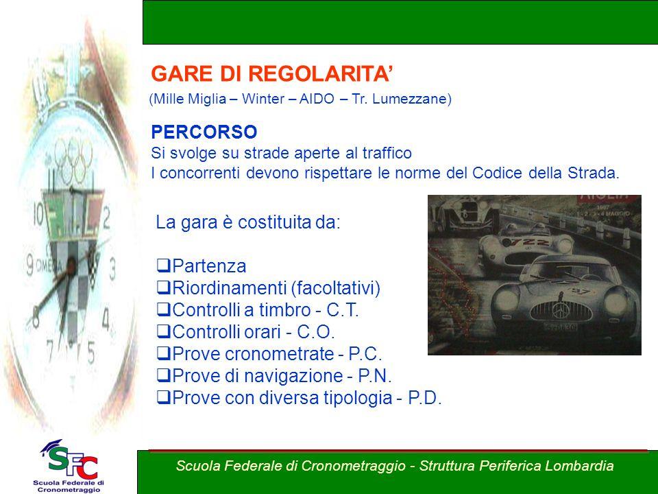A cura Andrea Pederzoli La gara è costituita da: Partenza Riordinamenti (facoltativi) Controlli a timbro - C.T. Controlli orari - C.O. Prove cronometr