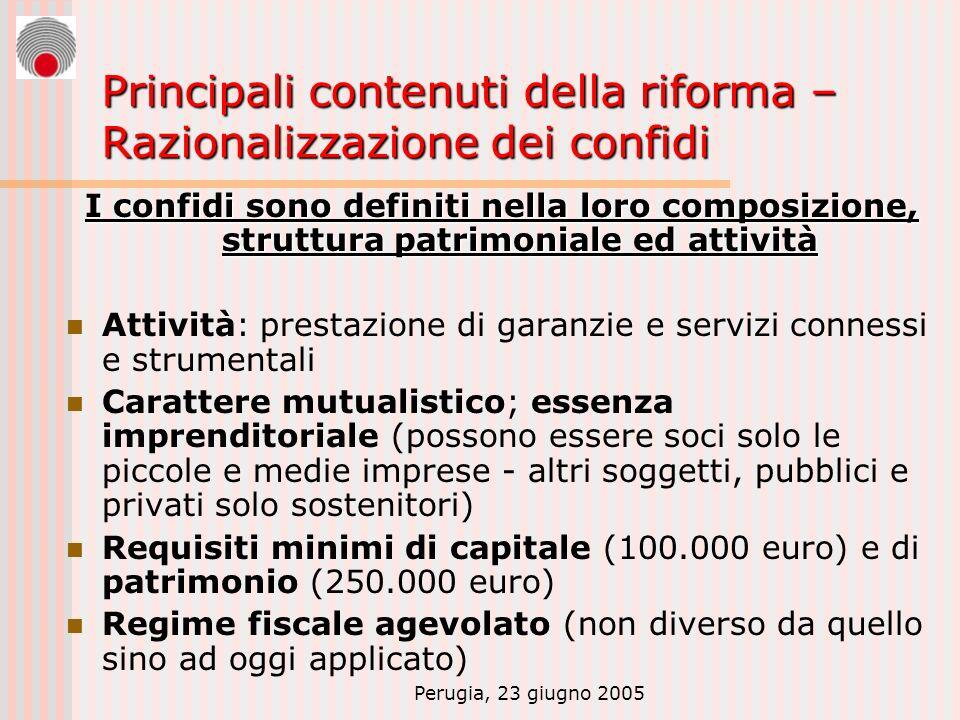Perugia, 23 giugno 2005 Principali contenuti della riforma – Razionalizzazione dei confidi I confidi sono definiti nella loro composizione, struttura