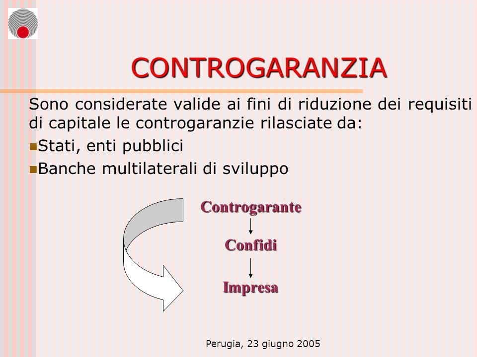 Perugia, 23 giugno 2005 CONTROGARANZIA Sono considerate valide ai fini di riduzione dei requisiti di capitale le controgaranzie rilasciate da: Stati,